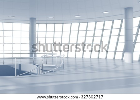 3D Render of White contemporary business center hall - stock photo