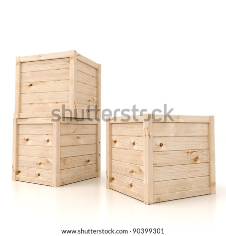 3d render of wooden boxes  on white - stock photo