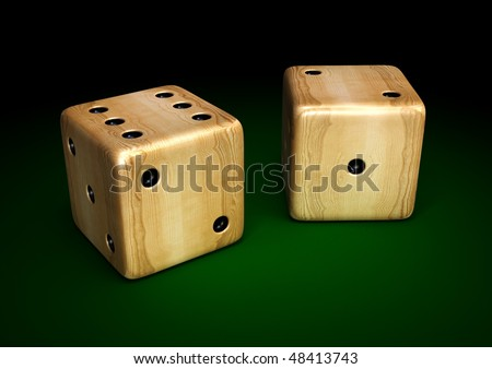 3d render of wooden dices on green table - stock photo