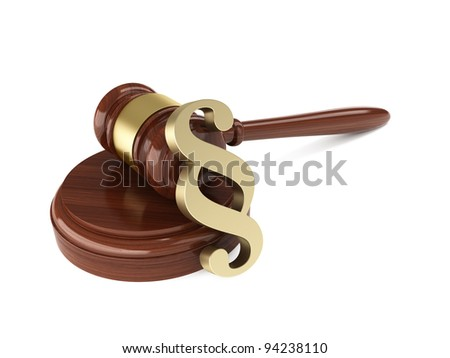 3d render of wooden judge gavel with paragraph sign on white background - stock photo