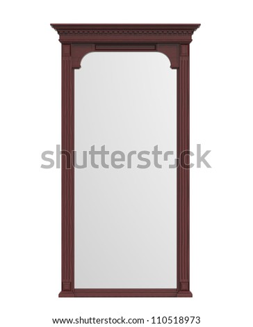 3d render of  wooden mirror on a white background - stock photo