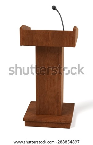 3d render of wooden podium - stock photo