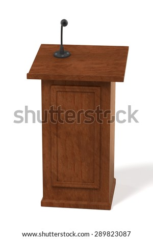 3d render of wooden podium - stock photo