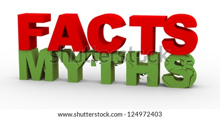 3d render of word facts breaking word myths - stock photo
