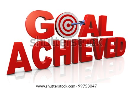 3d render of word goal achieved with dart and target. Concept of target achieved. - stock photo
