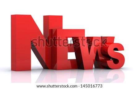 3D render of Word 'NEWS' with reflections isolated on white Background - stock photo