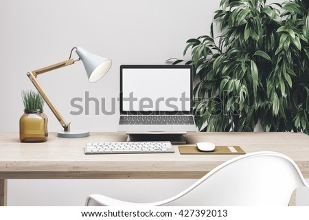 3d render of workspace mockup - stock photo