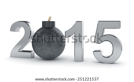 3d render of 2015 year sign with round bomb isolated on white background. Danger concept - stock photo