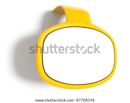 3d render of yellow bubble speech window with shadow - stock photo