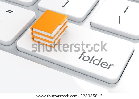 3d render of yellow folders set on the computer keyboard. Search and storage concept - stock photo