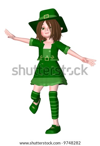 3d render of young leprechaun girl wearing a Saint Patrick's Day outfit and hat - stock photo