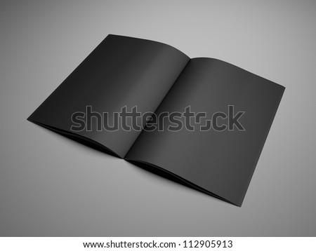 3d render open black booklet - stock photo