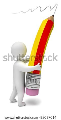 3d render pencil - stock photo