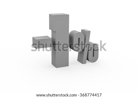 3d render 1 percent discount on a white background.  - stock photo