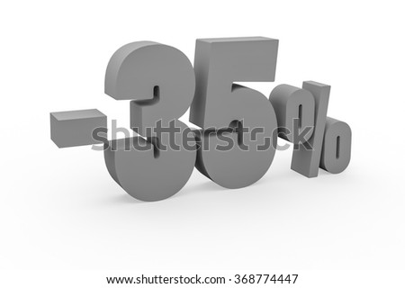 3d render 35 percent discount on a white background.  - stock photo