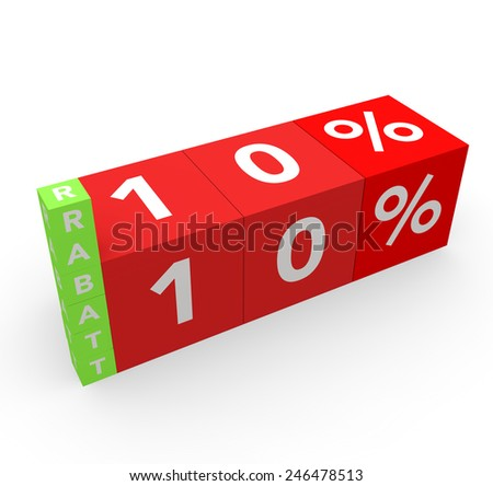 3d render 10 percent off with the word Rabatt (Discount in German) on a white background.  - stock photo