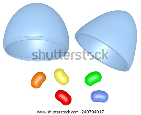 3d Render Plastic Easter Egg with Jelly Beans - stock photo