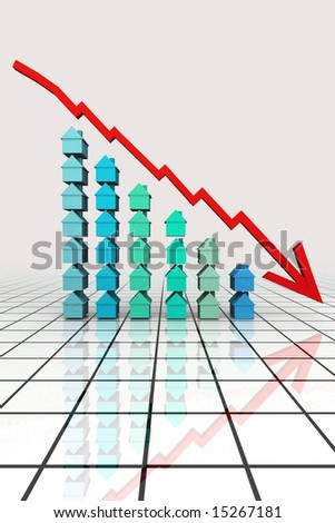 3d Render Real Estate Graph Concept - stock photo