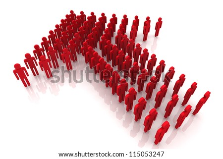 3D Render Red Color Human Arrow Group - stock photo
