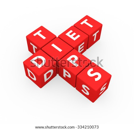 3d render red cubes Diet Tips on a white background.  - stock photo