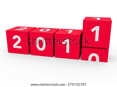 3d render red cubes New Year 2011 on a white background.  - stock photo