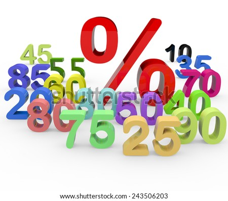 3d render sale concept with a percent sign and different numbers on white background.  - stock photo