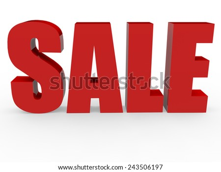 3d render sale concept with Sale word on a white background.  - stock photo