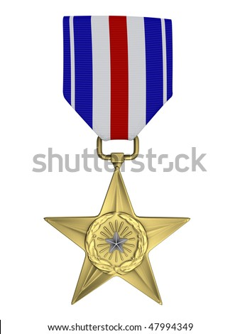 3d render Silver star medal - stock photo
