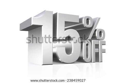 3D render silver text 15 percent off on white background with reflection. - stock photo