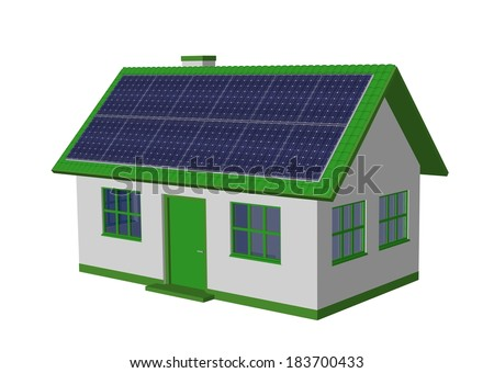 3d render simple house model with Solar Panels and bicycle - stock photo