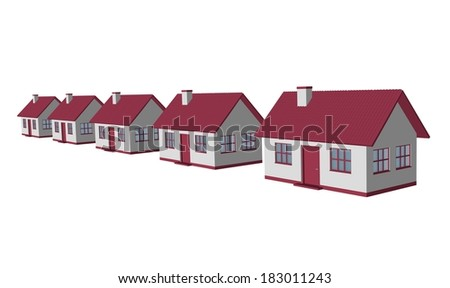 3d render single-family detached housing models - stock photo