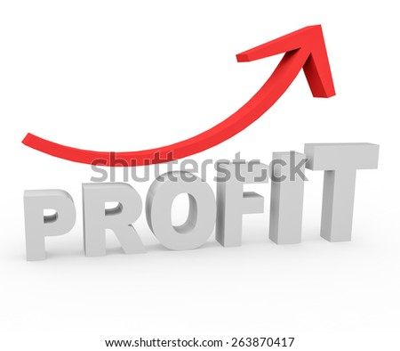 3d render success concept with Profit word and growing red arrow on a white background.  - stock photo