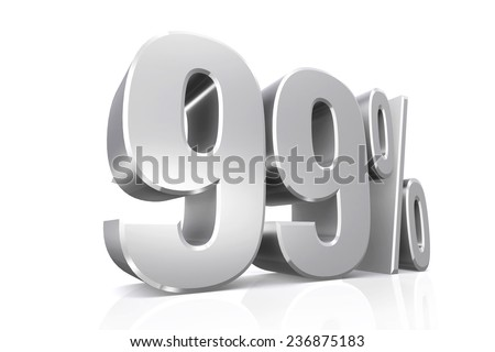 3D render text in 99 percent in silver on white background with reflection. - stock photo