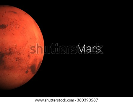 3D render the planet Mars on a black background with text. Some elements of this image furnished by NASA.  - stock photo