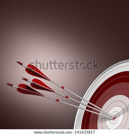 3D render. Three arrows hits the center of a red target in the bottom right angle of the image. Concept image suitable for synergy purpose. - stock photo