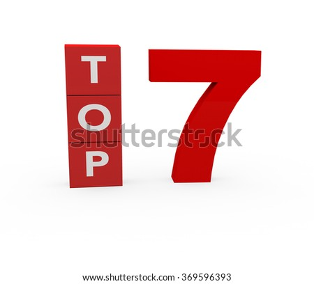 3d render Top 7 on a white background.  - stock photo