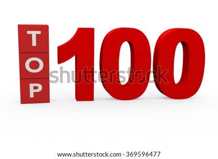 3d render Top 100 on a white background.  - stock photo