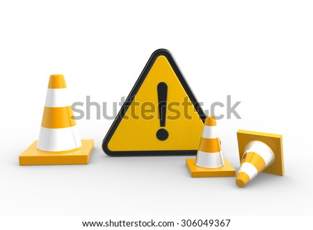 3d render warning sign and traffic coins - stock photo