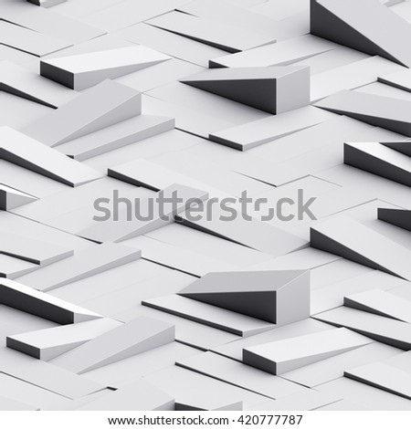 3d render, white clusters digital illustration, abstract geometric background, modern texture - stock photo
