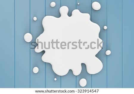 3d render white liquid splatter  - stock photo