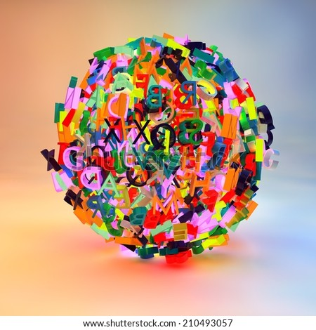 3d render with letters forming a ball, symbolizing writing, reading, learning, education - stock photo