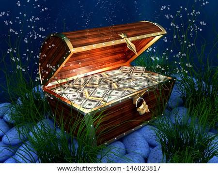 3D Render Wooden chest, golden chest full of 100 dollars bill on underwater background - stock photo