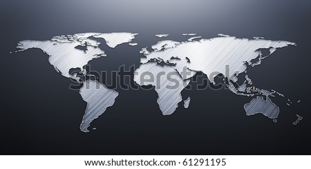 3D render world map - stock photo