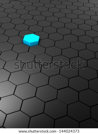 3D rendered abstract background with hexagons - stock photo