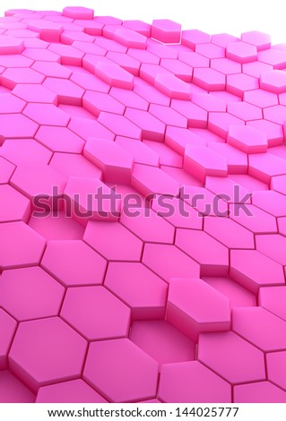 3D rendered abstract background with rose hexagons - stock photo