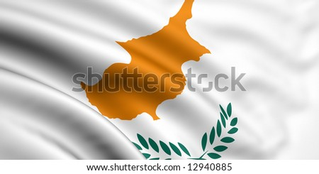 3d rendered and waving flag of cyprus - stock photo