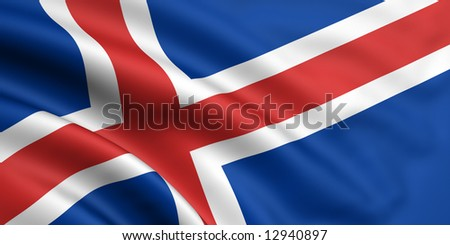 3d rendered and waving flag of iceland - stock photo