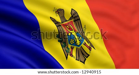 3d rendered and waving flag of moldova - stock photo