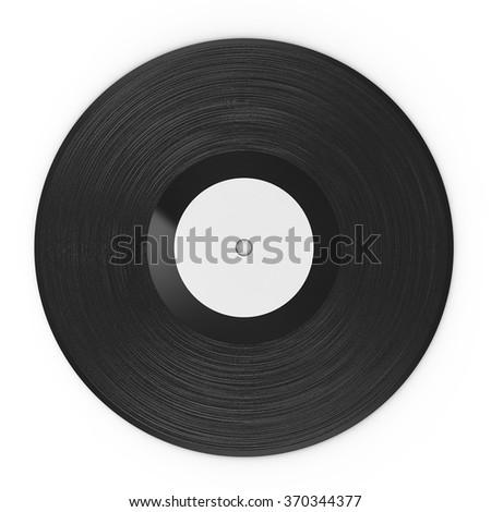 3d rendered black vinyl record on white background - stock photo