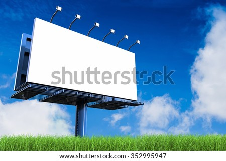 3d rendered blank billboard - stock photo